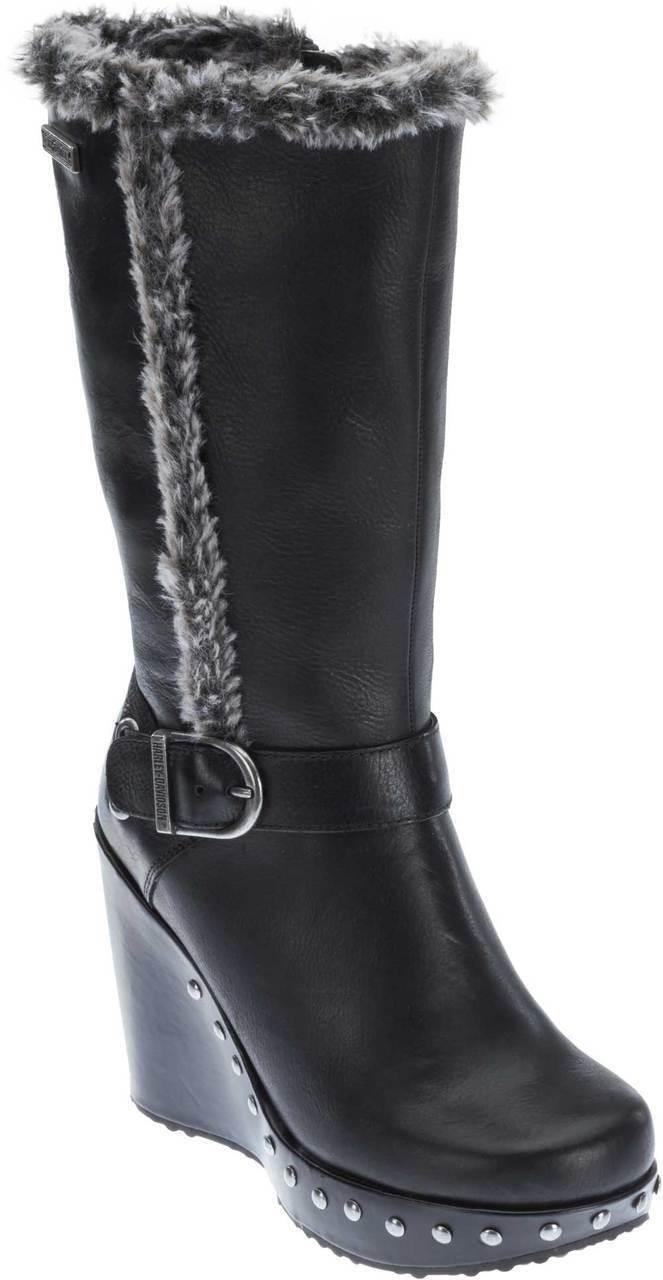 Harley-Davidson Mujer Artesia 10 Pulgadas botas de cuña de moda D83882, Negro