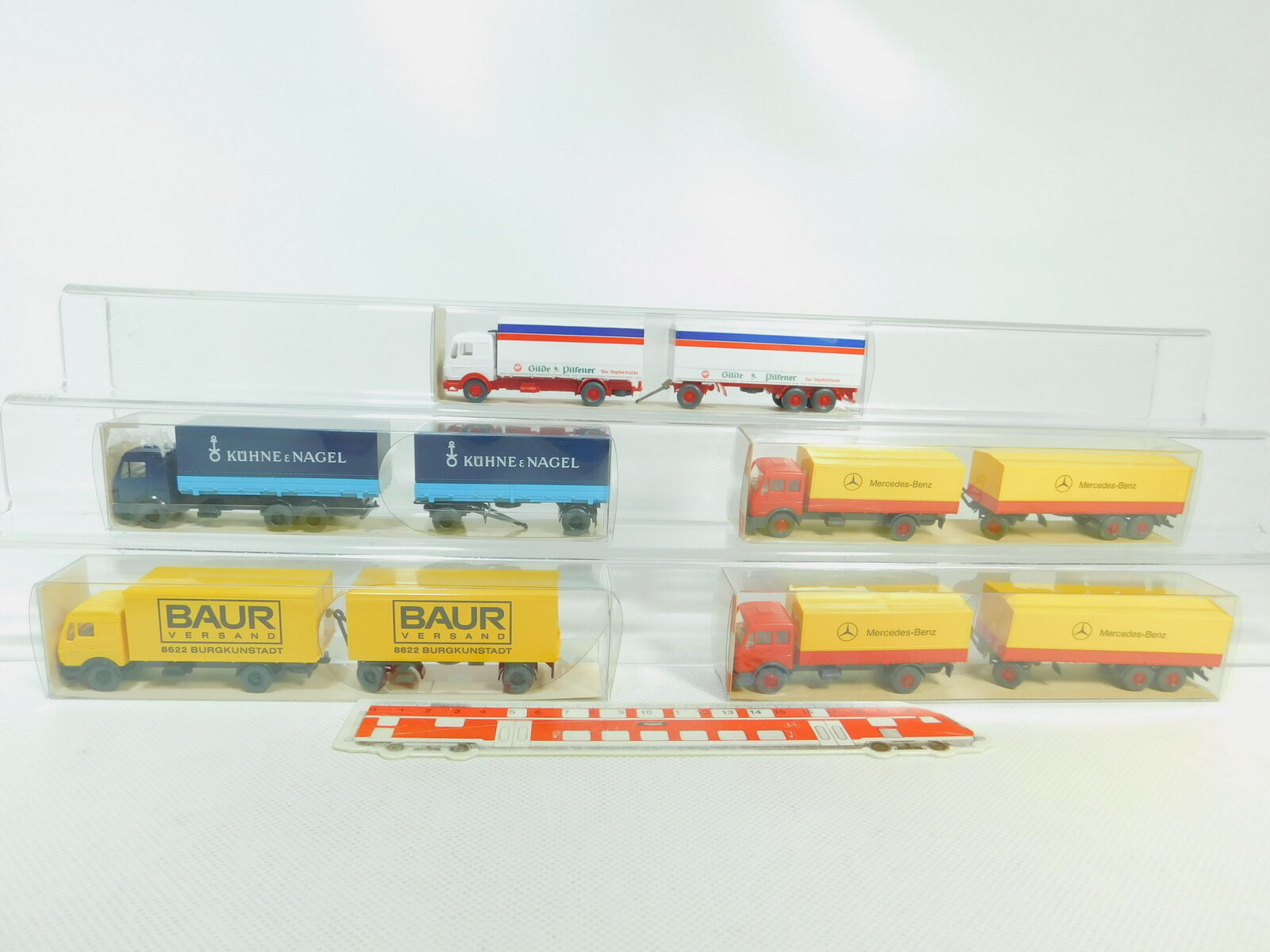 BO746-0,5x Wiking H0 1 87 Lastzug MB  456+455 Gilde+459 1 Baur+571, NEUW+OVP