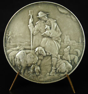 Medal-Allegorie-Mantis-of-Shepherd-Cardinal-Mercier-1916-Belgium-Jos-Dupon