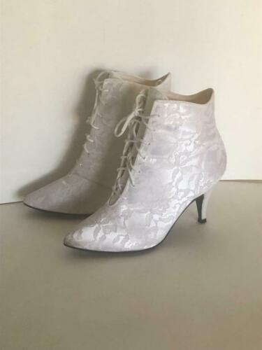 Vintage 1980's White Lace High Heel Booties Weddin