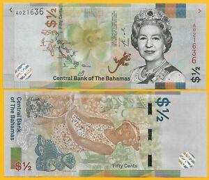 Bahamas-1-2-half-Dollar-fifty-cents-p-new-2019-UNC-Banknote