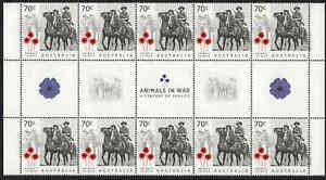 2015-AUSTRALIA-Animals-In-War-10-GUTTER-STRIP-70c-soldier-on-horseback-MNH