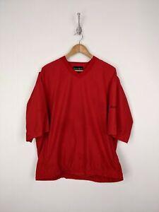 FJ-FootJoy-Windbreaker-Men-Large-Red-Black-V-Neck-Pullover-Short-Sleeve-Golf