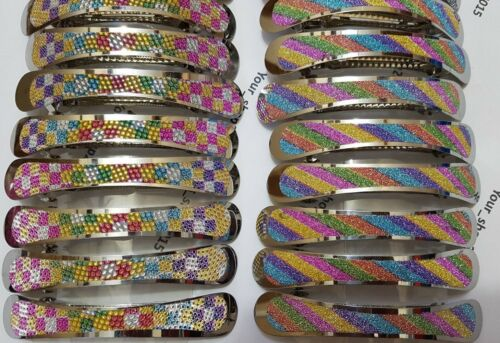 CLIP HAIR CLIPS PONYTAIL SLIDES STUNNING RAINBOW PATTERN NEW WOMAN BARRETTE