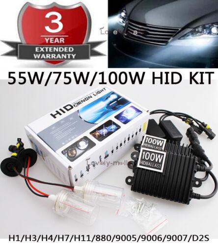 75W//100W Xenon Headlight Replacement HID KIT H1 H3 H4 H7 H8//H9//H11//H13 JQ