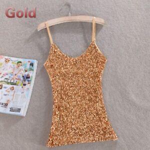 c5b4faff15ad8 Fashion Lady Camisole Tank Top Sequin Vest Bling Spaghetti Strap ...