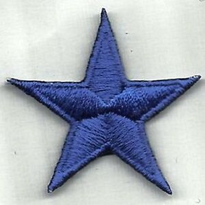 Iron-On-Sew-On-Embroidered-Patch-Badge-Star-Blue-Star-5-Point-Star-Blue
