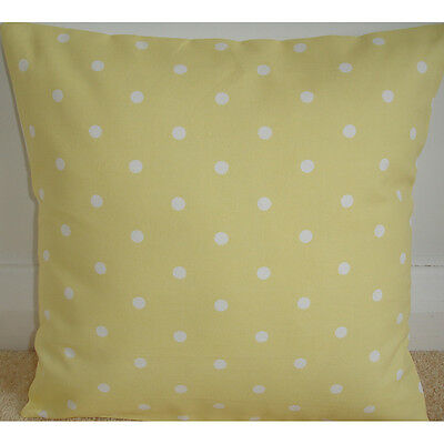 """NEW 14"""" Cushion Cover ★ Yellow and White Polka Dots ★ Nursery Throw Pillow"""