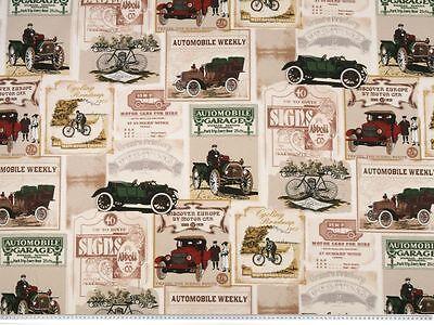 Attraktiver Dekostoff, Druck: Oldtimer Auto, 2 Fb. wählbar, 140cm breit