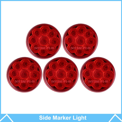 5pcs Red 2 Inch Round Clearance Side Marker Trailer//Exterior Lights Red Lens 12V