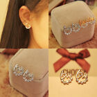 Korean Style Silver Gold Crystal Rhinestone Heart Love Letters Ear Stud Earrings