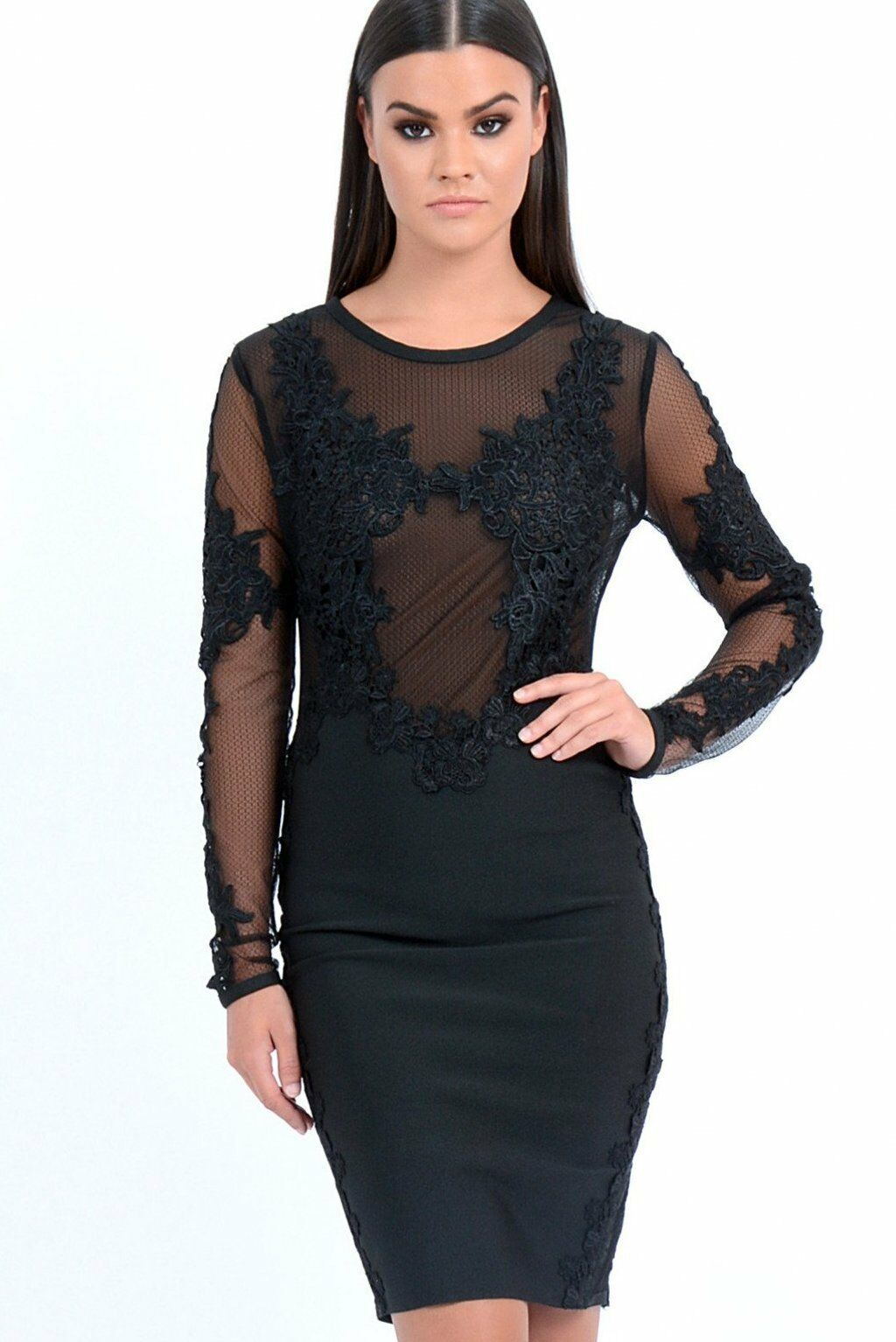 BRAND NEW Forever Unique Woherren Talisa Lace Embroiderot Dress - schwarz (Small)