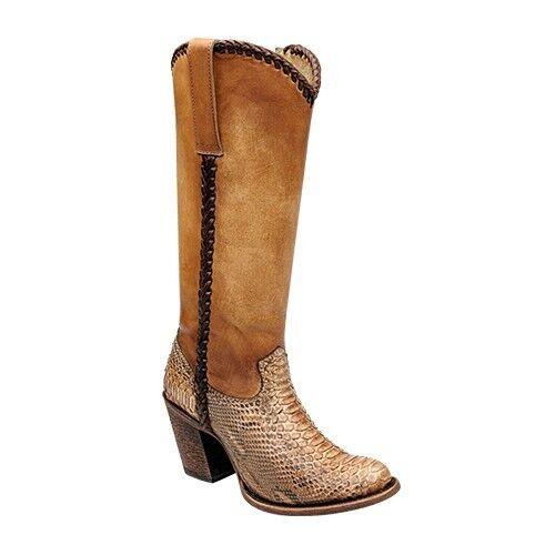 Señora botas de vaquero Western botas de piel de serpiente cuadra (hecha a mano) 1z23ph