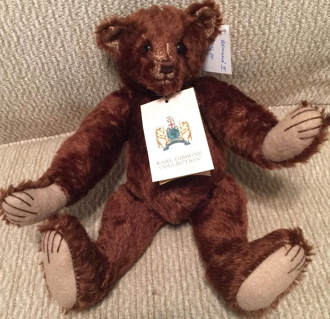 KARL GIBBONS Collection 1999  EDMUND II  Mohair Teddy Bear  20/500 w/Tag England
