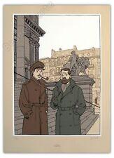 Affiche Sérigraphie Juillard Blake et Mortimer à Bruxelles 250ex signée 50x70 cm