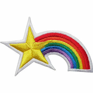 Rainbow Star Embroidered Iron / Sew On Patch Clothes Jacket Shirt Badge Transfer