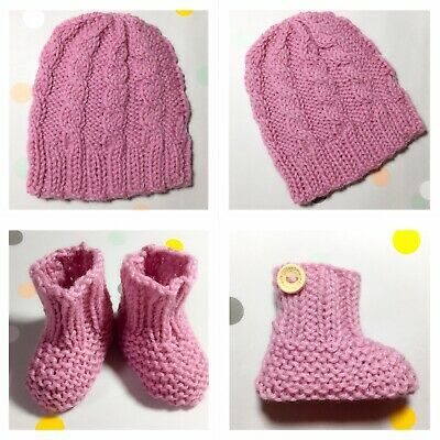 shower gift shoes CROCHET BROWN BABY BOY HAT BOOTIES OR MITTENS in merino wool