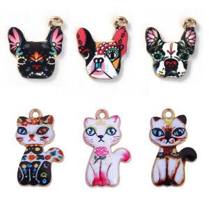 10-PCs-Alloy-Flower-Enamel-Cat-Dog-Animal-Charms-Pendants-DIY-Jewelry-Crafts