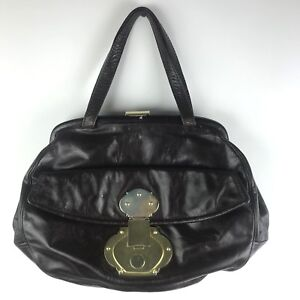 Image is loading CYNTHIA-ROWLEY-Brown-Leather-Chunky-Gold-Tone-Hardware- 99283552e3