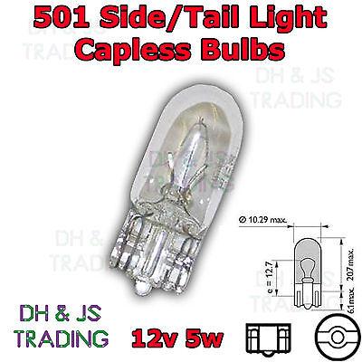 501 Side Tail Light Push In Number Plate Capless Bulb Bulbs 12V 5W