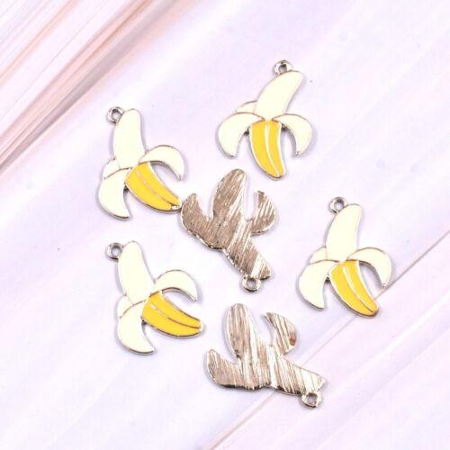 5X Lovely Enamel Fruit Banana With Peel Charm Pendant 28*21mm For DIY Earrings