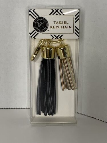 Modern Expressions Black/&Gold Tassle Key Chains