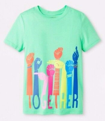 """Cat /& Jack Boys Short Sleeve Graphic /""""Together/"""" T-Shirt Green Select Size 3758"""