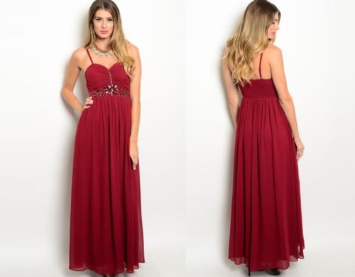 SPAGHETTI STRAP CHIFFON JEWELLED FORMAL PARTY EVENING GOWN DRESS SIZE 10 12 14