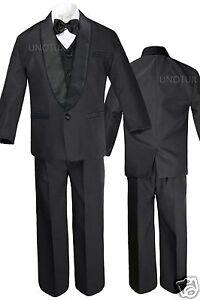 6pc Boys White Satin Shawl Lapel Suits Tuxedo EXTRA Fuchsia Satin Necktie Set
