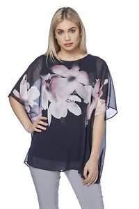 Roman-Originals-Women-039-s-Blue-Floral-Chiffon-Overlay-Top-Sizes-10-20