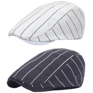 Unisexe-Hommes-Femmes-a-rayures-Casual-Chapeau-Reglable-conduite-Beret-Cap-noir-blanc