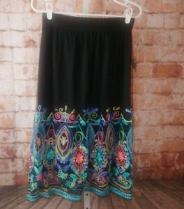 NWT-Magic-Embroidered-A-Line-Midi-Skirt-Size-L