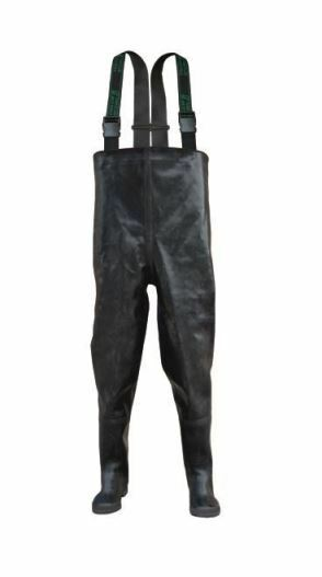 Black RUBBER Chest Waders rubbers wader Mud 4,5 - 12 UK , 39 - 47 EU