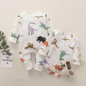 Fashion Newborn Baby Boy Girls Dinosaur Romper Jumpsuit Playsuit Outfit Clothes