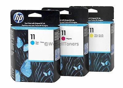 HP 11 Cyan Magenta Yellow Ink Cartridge Combo C4836A-37A-38A Genuine New