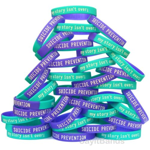 my story isn/'t over ; Bracelet Lot Suicide Prevention Awareness Wristbands