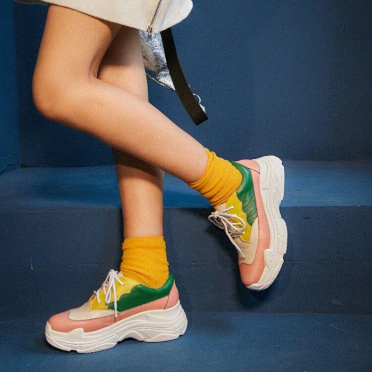 Femme Vogue cuir multiCouleure Plateforme Lacets Cour Chaussures creapers Baskets