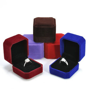Velvet Jewelry Wedding Engagement Ring Case Box Holder Storage