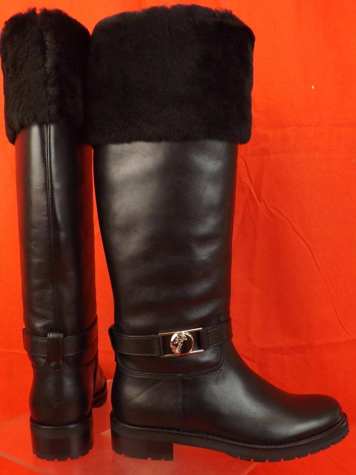 NIB VERSACE COLLECTION schwarz LEATHER FUR FUR FUR SHEARLING Gold MEDUSA TALL Stiefel 37 bf3557