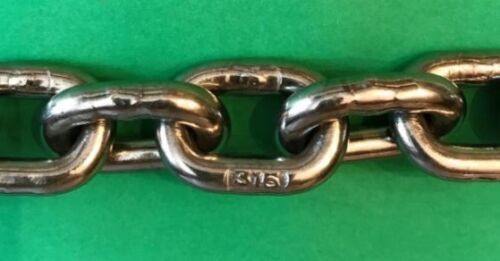 """by 15/' long w// shackles 6.3mm Stainless Steel 316 Short Link Anchor Chain 1//4/"""""""