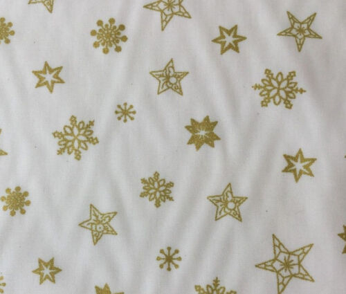 Christmas Rose Hubble ~ GOLD ~  Cotton Fabric stars on a cream background