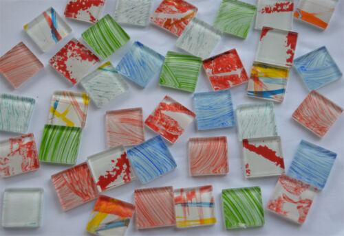 60 Mosaiksteine mit schönem Muster Buntmix 2,5x2,5 cm Soft Glas Mosaik Steine