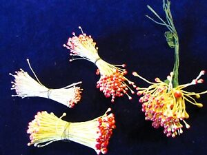 Vintage Millinery Flower Stamen Collection Yellow Red H3102