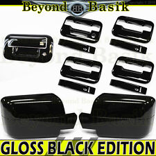 2004-2008 F150 Crew GLOSS BLACK Door Handle no PSK w/KP+Mirror+Tailgate Covers