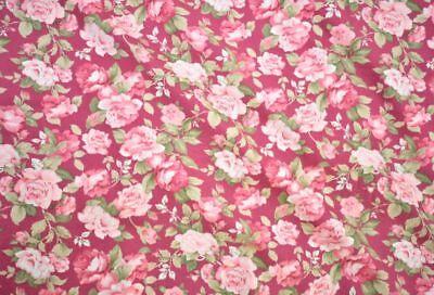 Quilt Cotton Fabric Vintage Retro English Floral Orange Fat Quarter Half Yard
