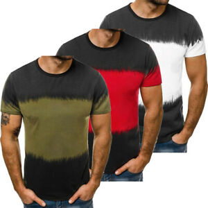 Men-039-s-Casual-Training-Muscle-Sport-Fashion-Slim-Fit-Gym-Bodybuilding-T-shirt-Tee