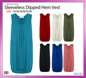 New-Ladies-Women-Sleeveless-Longline-Dip-Back-Top-Vest-Plus-Sizes-14-24
