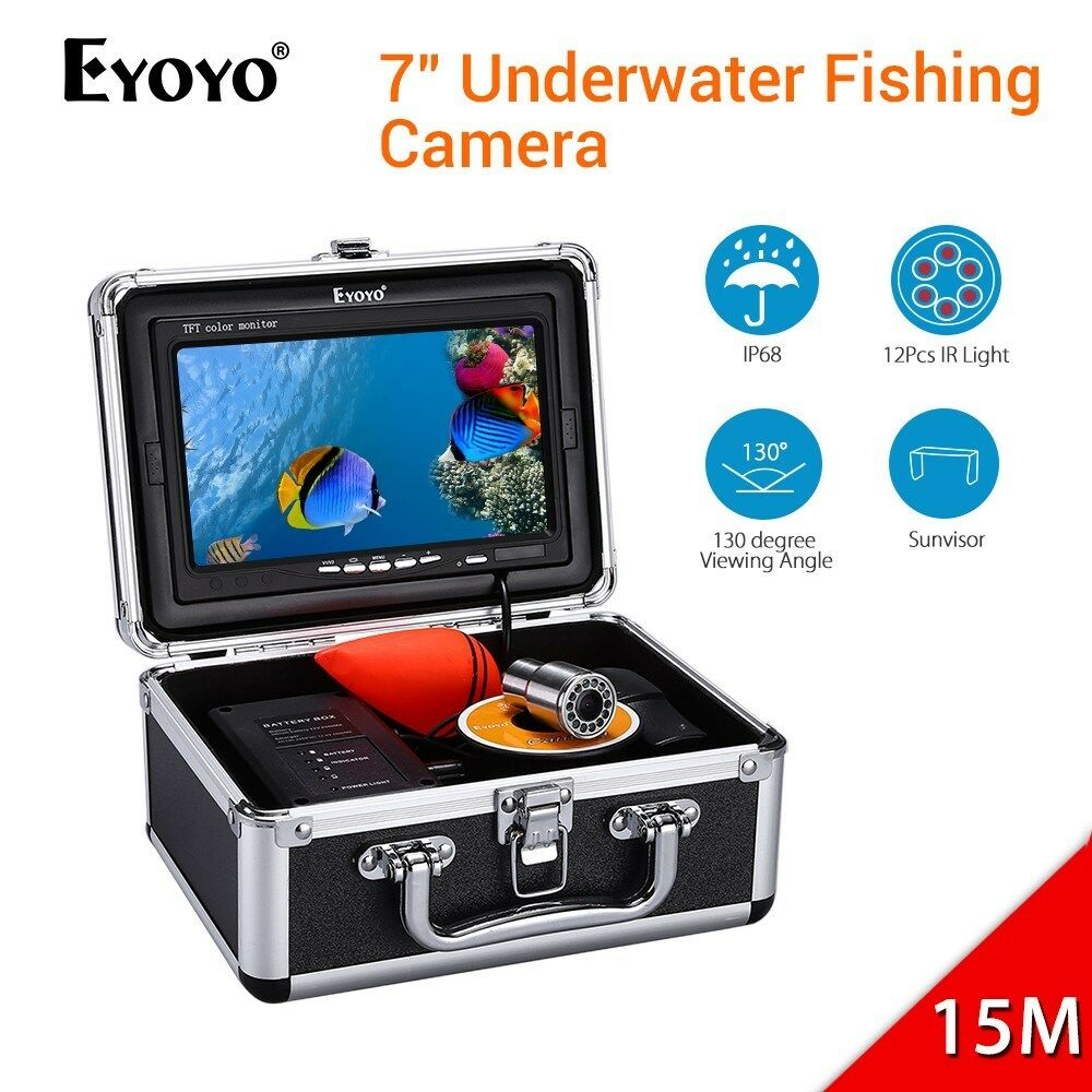 7  1000TVL Cámara De Pesca Submarina 12PCS IR LED 4500mAh Batería Buscador de los pescados