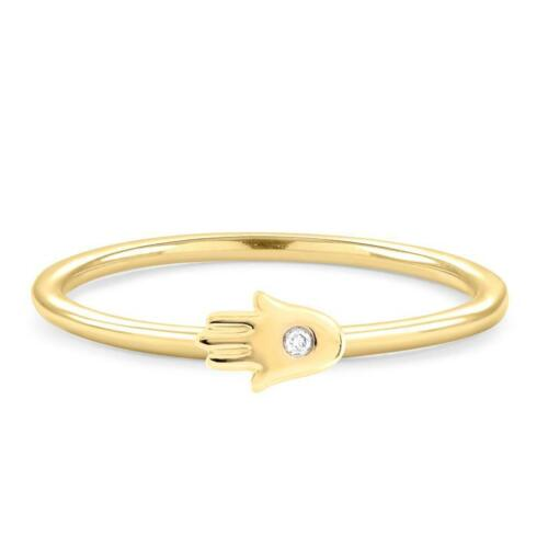 Details about  /14k yellow gold over good luck hamsa diamond delicate ring