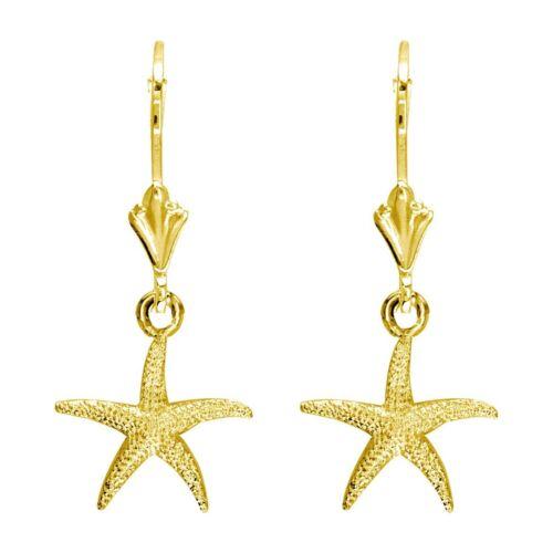 Mini commune étoile de mer boucles d/'oreilles en 14K or jaune